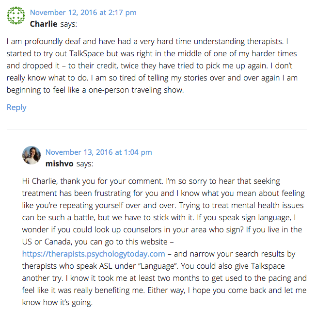 Comment on Talkspace review post