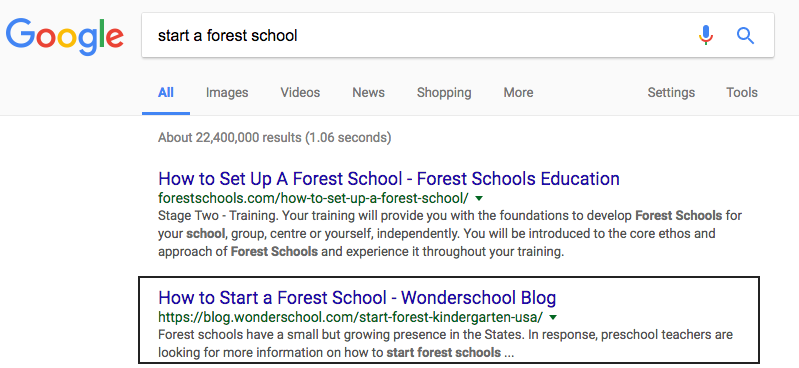 Wonderschool forest school SEO